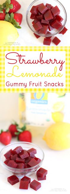 Make your own healthy DIY Homemade Strawberry Lemonade Gummy Fruit Snacks - just 3 ingredients and 10 minutes! Great lunchbox treat for the kids! Your kids are going to LOVE seeing these healthy strawberry lemonade Homemade Jello, Homemade Candies, Fruit Snacks Homemade, Organic Fruit Snacks, Homemade Gummy Bears, Fruit Recipes, Baby Food Recipes, Snack Recipes, Health Desserts
