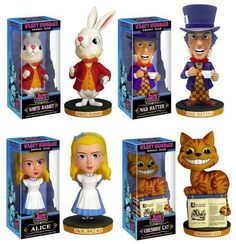 Funko Alice in Wonderland Bobblehead Wobbler Set Alice, Cheshire Cat, Mad Hatter & Rabbit Alice In Wonderland Series, Wacky Wobbler, Toys Online, Cheshire Cat, Bobble Head, Teddy Bear, Christmas Ornaments, Cats, Animals