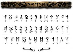 "The old Hungarian script is also known as Hungarian Runes or Székely-Hungarian Rovás. The word ""rovás"" derives from the verb ""róni"" (carving letters). It's a Hungarian terminology which describes the technique of writing. Those who used ""rovás"" usually wr Alphabet Code, Alphabet Symbols, Ancient Alphabets, Ancient Scripts, Ancient Symbols, Magic Symbols, Simbolos Tattoo, Design Fonte, Letras Tattoo"
