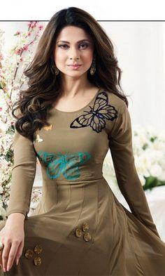 330212bd8a767 Brown Designer Floor Length Anarkali Suit - Anarkali Elbise, Anarkali Takım  Elbiseleri, Yere Uzanan