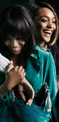 Mario Testino with Naomi Campbell and Jourdan Dunn on the set of the Spring/Summer 2015 campaign