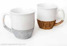 Need a little sparkle in your life? Make a set of fun dishwasher safe glitter mugs with this easy-to-follow tutorial!