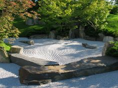 A Zen garden is a type of Japanese rock garden, which usually consists of stones, gravel and boulder