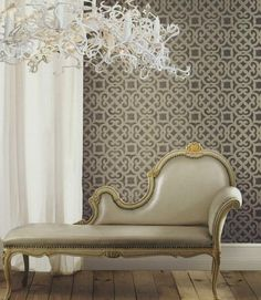 Brewster wallpaper is made by Brewster Home Fashions, a company started in 1935 as a US regional distributor of wallpaper. Raymond Waites, Brewster Wallpaper, Interior Architecture, Interior Design, Upholstered Sofa, Home Wallpaper, Beautiful Interiors, Home Decor Inspiration, Home Furnishings