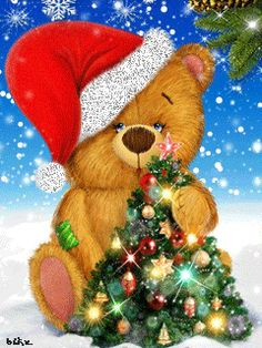 A CUTE CHRISTMAS TEDDY BEAR (GIF).