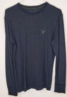 American Eagle Vintage Fit Mens Blue Cotton/Poly Long Sleeve Thermal Shirt Small…