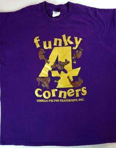 Funky 4 Corners Omega Psi Phi Fraternity T-Shirt Mens 2XL Purple XXL Cotton Tee…