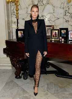 Blake Lively in a Monique Lhuillier star-embroidered body stocking and tuxedo jacket