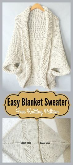 Easy Blanket Sweater Free Knitting Pattern - ayla e.sipahi - - Easy Blanket Sweater Free Knitting Pattern - ayla e. Knitting Stitches, Knitting Patterns Free, Free Knitting, Sewing Patterns, Crochet Patterns, Free Pattern, Knitting Sweaters, Shrug Knitting Pattern, Knitting Tutorials