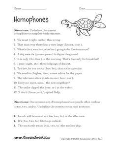 free homophones work