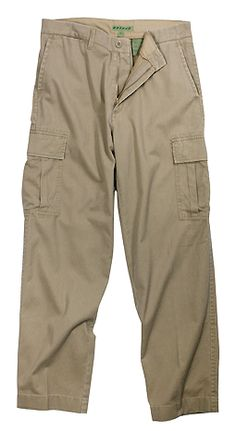 Vintage Khaki Cargo Pocket Fatigue Pants are a perfect choice for casual and outdoor wear. These Vintage Khaki Cargo Fatigues are made of a tough pre washed 100% cotton twill, brass zipper fly, button closure, belt loop waist, two front slant pockets, two side pleat bellows flap pockets, and two concealed pockets.