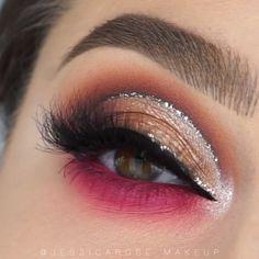 Glittery Pink Eye Makeup Tutorial - Beauty - Augen Make Up Bold Eye Makeup, Makeup Eye Looks, Cut Crease Makeup, Beautiful Eye Makeup, Smokey Eye Makeup, Eyeshadow Makeup, Smoky Eye, Simple Smokey Eye, Orange Eye Makeup