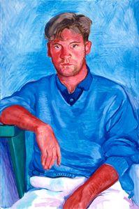 DAVID HOCKNEY (British: 1937) - John Fitzherbert, 1990  oil on canvas