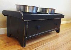 Raised Dog Bowl Stand w/ DOVETAIL DRAWER by BoydenWoodDesigns, $85.95