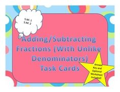 Adding and subtracting fractions with unlike denominators.  Word problem task cards.