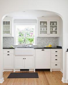 Cheap Backsplash Ideas Make Kitchen More Splendid: Wood Flooring With  Kitchen Cabinet Hardware Plus Farmhouse