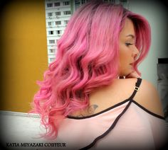 Katia Miyazaki Coiffeur - Salão de Beleza em Floripa: Cabelo Feminino - Modelado - Pink - Rosa - Colorid...