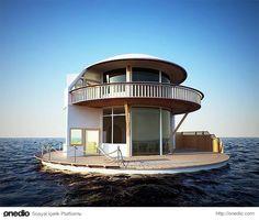 3- İnsanlardan uzakta mutlu olanların koşarak olmasa da yüzerek gideceği bu yüzer ev