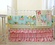 Turquoise Mockingbird Pink 3-Piece Bumperless Baby by LottieDaBaby