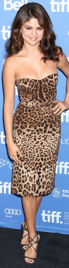 Selena Gomez cocktail dress animal print