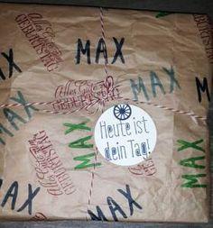 """Geschenkverpackung aus SU-Packpapier – bestempelt mit """"Layered Letters"""" & """"Geburtstagsgrüße für alle"""""""
