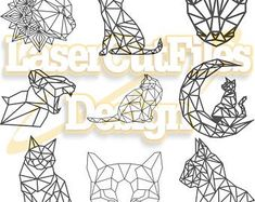 Laser cut design templates by LasercutFilesDesigns on Etsy Geometric Cat, Origami Cat, Cat Drawing, Home Decor Wall Art, Design Templates, Laser Cutting, Unique Jewelry, Handmade Gifts, Etsy Seller
