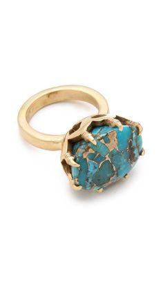 BY PUSHMATAaHA The Claw Ring.      ••••(KO) Turqoise and gold! Mama likes!