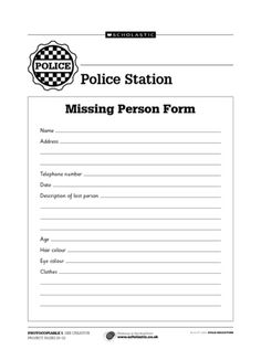 Lost property form for children to use as part of a police station role play. Dramatic Play Themes, Dramatic Play Centers, Police Activities, Preschool Activities, People Who Help Us, Pretend Play, Role Play, Police Academy, Narrative Essay