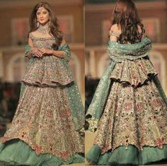 Latest Short peplum frock with formed lehenga for wedding brides in Pakistan Pakistani Wedding Outfits, Bridal Outfits, Latest Wedding Dresses Indian, Lehenga Wedding, Pakistani Bridal Wear, Indian Gowns Dresses, Pakistani Dresses, Walima Dress, Designer Bridal Lehenga