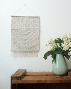 Handwoven tapestry wall hanging - light blue textures