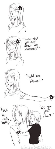 Hold my flower...by http://edwardvanelric.tumblr.com/post/47678495677/at-least-its-not-him-getting-beat-up-this-time-i