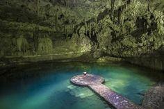 Cenote Suytun, Valladolid, Mexico.