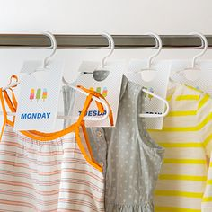 Love this idea for keeping the kids' clothes organized for the coming school week. No more delays deciding what to wear in the morning!