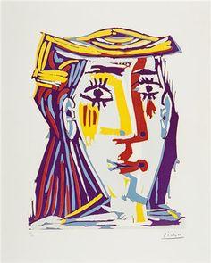 Pablo Picasso Linograbado Femme Au Chapeau Retrato de Jacqueline Au Chapeau de Paille Multicolore, comprar