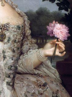 "Anton Raphael Mengs ""Portrait of Maria Luisa as Princess of Asturias,in the gardens of Aranjuez"" circa 1766 #Art #Detail"