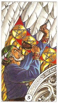 Three pentacles. Robin Wood Tarot.