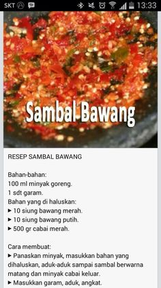 sambal bawang (credits to Lee Mon) Sambal Sauce, Sambal Recipe, Asian Recipes, Gourmet Recipes, Cooking Recipes, Healthy Recipes, Indonesian Cuisine, Indonesian Recipes, Malaysian Food