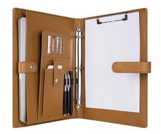 3 Ring Binder Portfolio, Genuine Leather Tablet/Laptop Padfolio, Organizer Folder Letter Size Notepad with Clipboard, Magnetic Closure Leather Notepad, Leather Working Patterns, Folder Organization, School Tool, Leather Portfolio, Cool Inventions, Study Materials, Ring Binder, File Folder