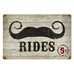 This Mustache Rides vintage metal sign measures 18 inches by 12 inches and weighs in at 2 lb(s). We hand make all of our vintage metal signs in the USA using heavy gauge american steel and a process known as sublimation, where the image is baked into a powder coating for a durable and long lastin...