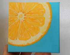 Lemon Slice Painting, Slice of Fruit Art, Mini Painting, Yellow and Turquoise Kitchen Art, Fruit Art, Hand Painted Magnets, Kitchen Painting by Mae2Designs on Etsy