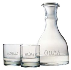A wonderful gift for weddings, anniversaries or Valentine's Day.  The double spouted carafe and 2 double old fashioned glasses are sand etched by hand.