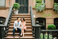 A quick stop by Carrie Bradshaw's stoop.  Photography by Brklyn View Photography  Read more - http://www.stylemepretty.com/new-york-weddings/2013/10/11/west-village-engagement-from-brklyn-view-photography/