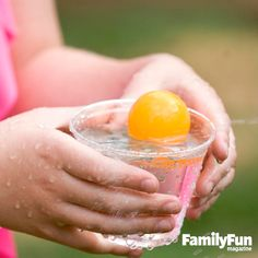 """The Cups Runneth Over: Players are sure to get soaked with this spray bottle challenge that's brimming with fun. Divide the group into teams of two. Give one player on each team a water squirter filled with water and the other player a plastic cup and Ping-Pong ball, then have them stand six feet apart. At """"Go,"""" the player with the bottle tries to squirt enough water into her teammate's cup to float out the ball."""