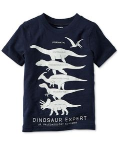 Carter's adds prehistoric-sized fun to his look with this dinosaur-inspired graphic-print T-shirt. | Cotton | Machine washable | Imported | Ribbed crew neck | Short sleeves | Graphic print at front  |
