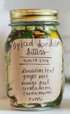 Spiced Dandelion Bitters on Plant Power Journal. The bitter taste actually activates the liver and digestive juices.
