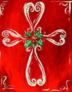 Cross Canvas Paintings, Christmas Paintings On Canvas, Christmas Tree Painting, Christmas Canvas, Christmas Drawing, Christmas Cross, Canvas Art, Painted Cross Canvas, Xmas