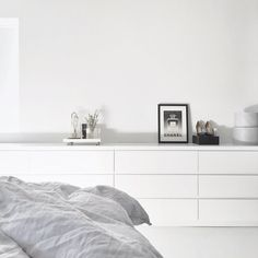 Ikea 'Malm' dressers in minimal bedroom