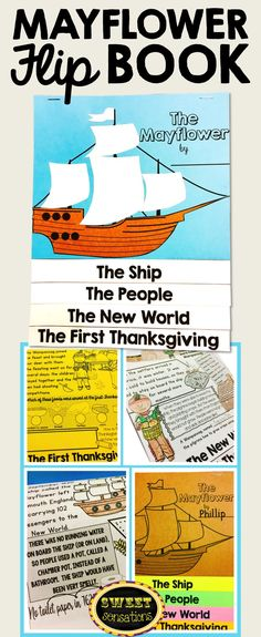 Thanksgiving activity - make a Mayflower flip book while reviewing information about the first Thanksgiving.  One question for students to research on each page.  Grades 2-4