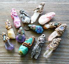 Wrap of clay design on crystals/gemstones...