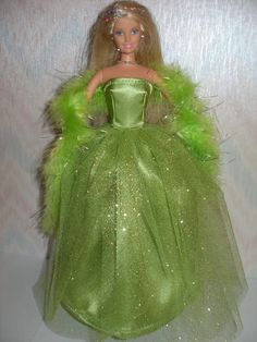 Handmade Barbie doll clothes  green gown with by TheDesigningRose, $15.00